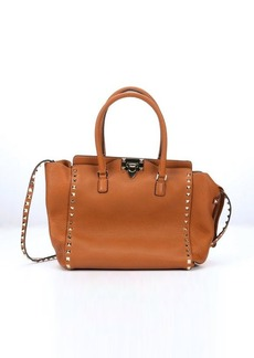 Valentino tan leather 'Rockstud' studded small convertible tote