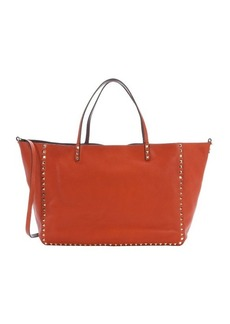 Valentino tangerine leather 'Rockstud' studded convertible reversible top handle tote
