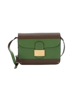 Valentino taupe and green colorblock leather shoulder bag