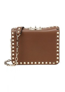 Valentino taupe leather 'Rockstud' convertible chain shoulder bag