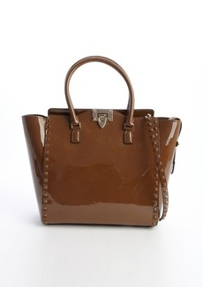 Valentino taupe leather 'Rockstud' studded detail convertible top handle tote