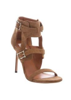 Valentino taupe suede 'Hitch On' monk strap stiletto sandals