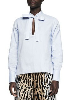 Valentino Tie-Front Cotton Blouse
