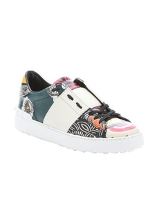 Valentino white floral graffiti print studded sneakers