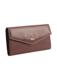 Valentino wine leather logo stamp continental wallet