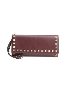 Valentino wine leather 'Rockstud' studded detail wallet