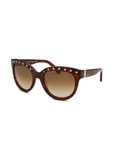 Valentino Women's Round Blonde Havana Studded Sunglasses