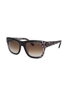 Valentino Women's Square Black and Translucent Sunglasses