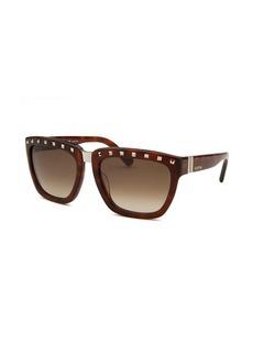 Valentino Women's Square Blonde Havana Sunglasses