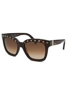 Valentino Women's Square Dark Havana Studded Sunglasses