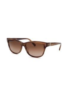 Valentino Women's Square Striped Brown Sunglasses