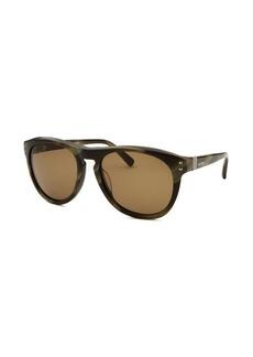 Valentino Women's Square Striped Khaki Sunglasses