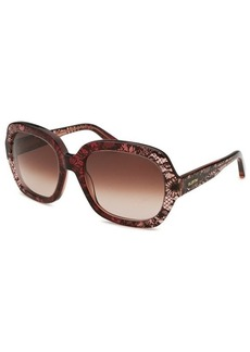 Valentino Women's Square Translucent Bordeaux Sunglasses