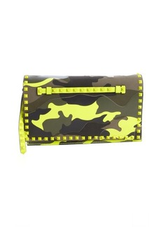 Valentino yellow camo leather 'Rockstud' studded accent wristlet clutch
