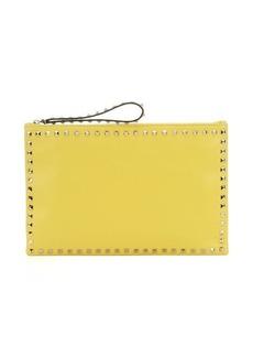 Valentino yellow leather 'Rockstud' medium clutch