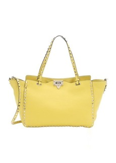 Valentino yellow leather 'Rockstud' medium convertible trapeze tote