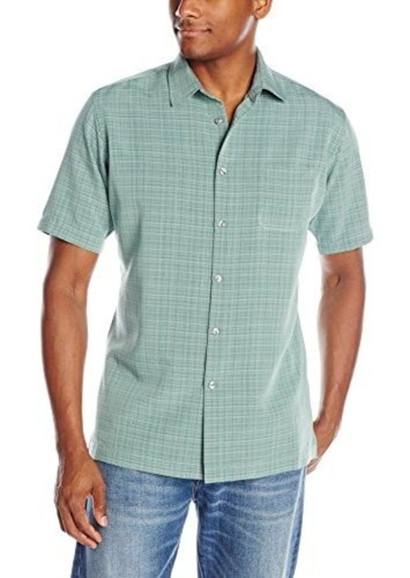 Van heusen van heusen men 39 s short sleeve solid plaid rayon for Van heusen plaid shirts