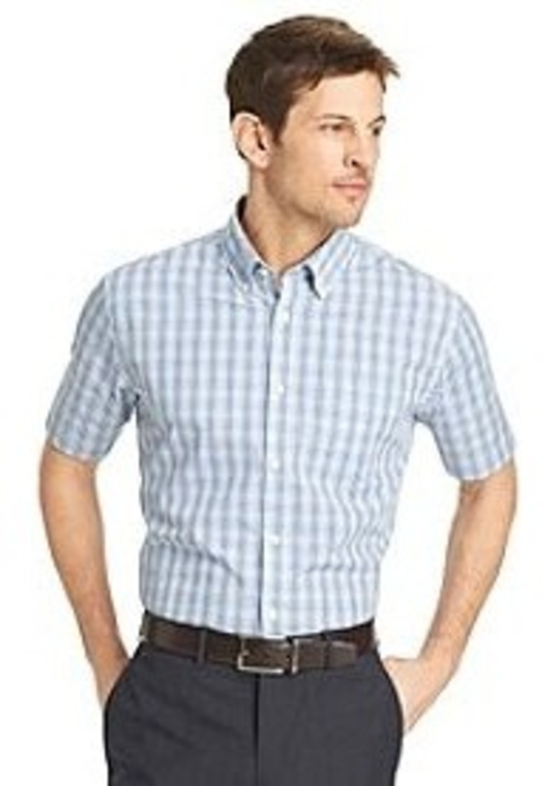 van heusen men 39 s short sleeve tattersal no iron woven