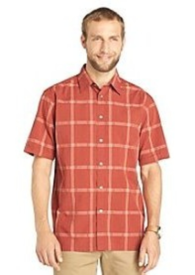 Van heusen van heusen men 39 s short sleeve windowpane for Mens short sleeve seersucker shirts