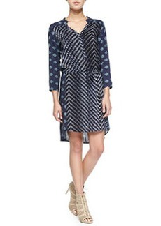 Velvet 3/4-Sleeve Combo Print Dress