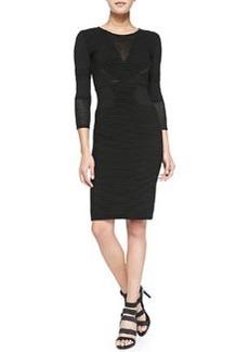 Velvet 3/4-Sleeve Textured Body-Con Dress