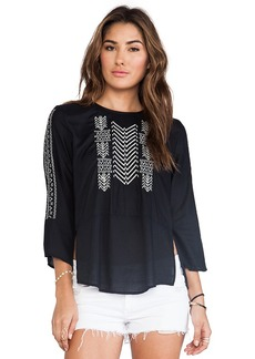 Velvet by Graham & Spencer Albany Embroidered Rayon Challis Top in Black