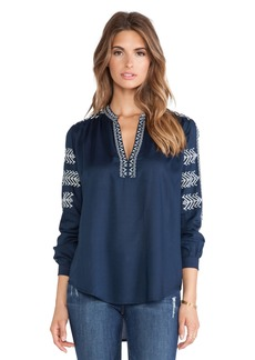 Velvet by Graham & Spencer Calli Embroidered Rayon Challis Top