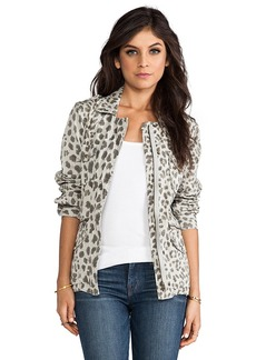 Velvet by Graham & Spencer Lily Aldridge for Velvet Aziya Leopard Army Jacket in Gray