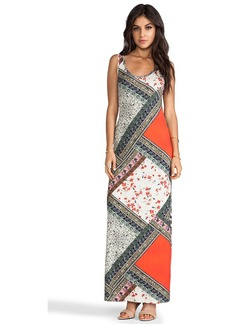 Velvet by Graham & Spencer Lily Aldridge for Velvet Martha Scarf Print Maxi in Brown