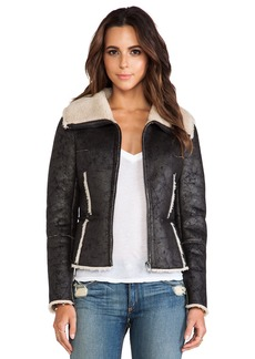 Velvet by Graham & Spencer Pamela Aviator Jacket with Faux Fur
