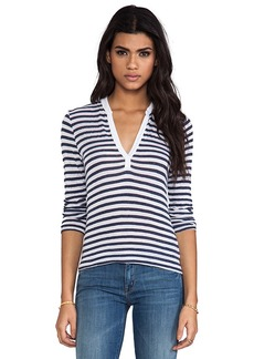 Velvet by Graham & Spencer Velvet Cotton Stripe Michelle Top in Blue