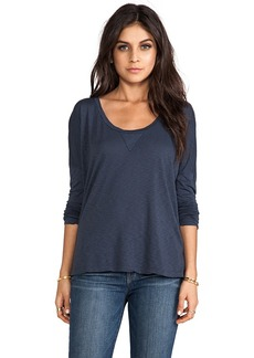 Velvet by Graham & Spencer Velvet Luxe Slub Zina Top in Blue