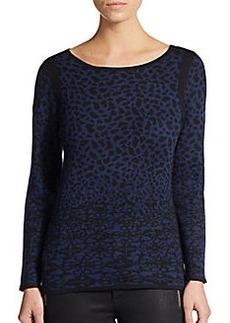 velvet BY GRAHAM & SPENCER Hayden Snow Leopard Jacquard Sweater