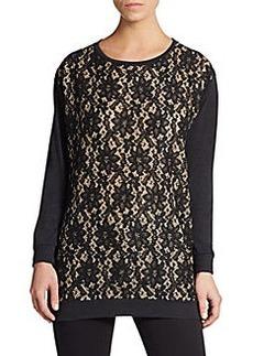 velvet BY GRAHAM & SPENCER Lace-Front Sweatshirt
