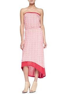 Velvet Primitivo Strapless Printed High-Low Dress