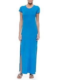Velvet Short-Sleeve Maxi Dress W/ Vented Sides