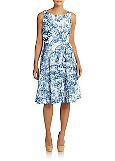 Vera Wang Abstract Print Lace Dress