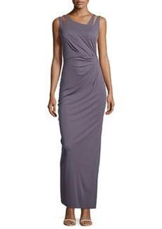 Vera Wang Asymmetric-Neck Sleeveless Pleated Gown, Slate