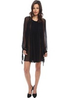 Vera Wang Chiffon Long Sleeve Pleasant Dress