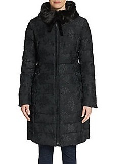 Vera Wang Chinoiserie Faux Fur-Collar Puffer Coat