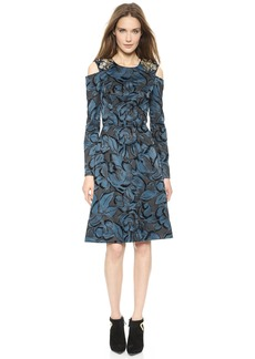 Vera Wang Collection Flocked Floral Dress