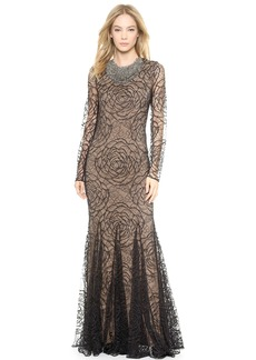 Vera Wang Collection Lace Godet Mermaid Gown