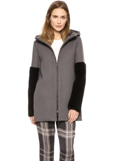 Vera Wang Collection Parka with Hood and Mink Sleeves
