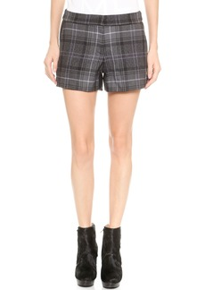 Vera Wang Collection Plaid & Leather Shorts
