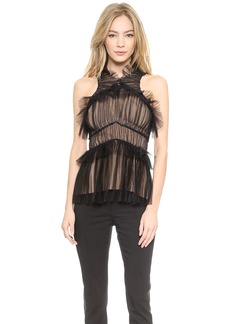 Vera Wang Collection Tulle Draped Halter Top