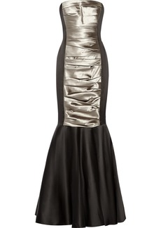 Vera Wang Color-block satin gown