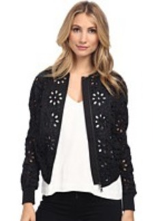 Vera Wang Cotton Eyelet Baseball Jacket