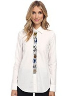 Vera Wang Cotton Poplin Oxford Shirt with Muticolor Sequin Flower Placket