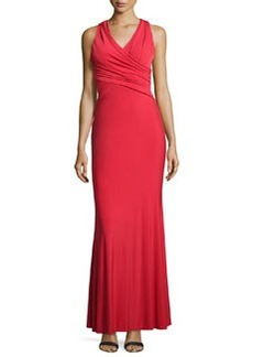 Vera Wang Cross-Front Jersey Gown, Scarlet