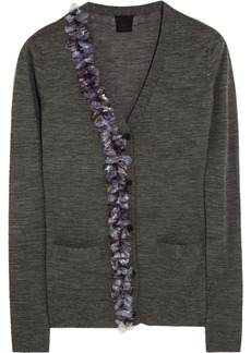 Vera Wang Embellished fine-knit wool cardigan